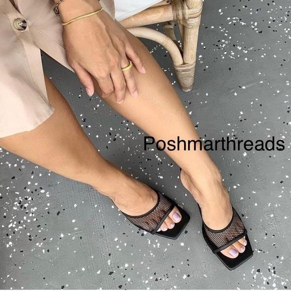 Zara bloggers fave mesh squared toe black sandals